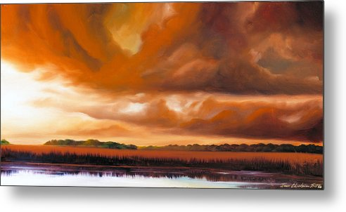 Clouds Metal Print featuring the painting Jetties On The Shore by James Christopher Hill