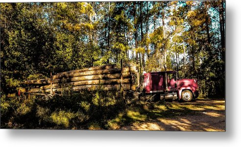 Woods Metal Print featuring the photograph Log Truck by Leon Hollins III