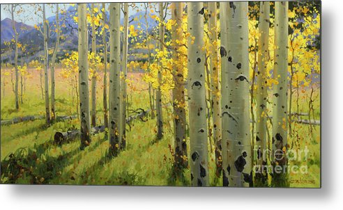 Aspen Trees Birch Trees Gary Kim Oil Print Art Print Woods Fall Trees Autumn Season Panorama Sunset Beautiful Beauty Yellow Red Orange Fall Leaves Foliage Autumn Leaf Color Mountain Oil Painting Original Art Horizontal Landscape National Park America Morning Nature Wallpaper Outdoor Panoramic Peaceful Scenic Sky Sun Time Travel Vacation View Season Bright Autumn National Park South America Clouds Cloudy Landscape Mist Misty Natural Peak Peaks New Painting Oil Original Vibrant Texture Reflections Metal Print featuring the painting Maroon Creek by Gary Kim