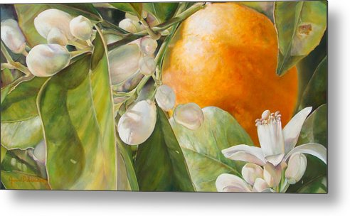 Floral Painting Metal Print featuring the painting Orange fleurie by Dolemieux