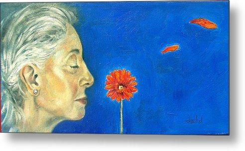 Flower Metal Print featuring the painting Orange gerbera on cobalt by Ixchel Amor