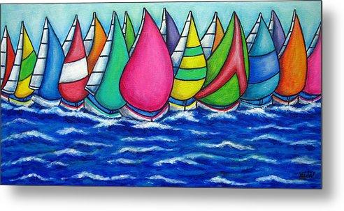 Boats Metal Print featuring the painting Rainbow Regatta by Lisa Lorenz