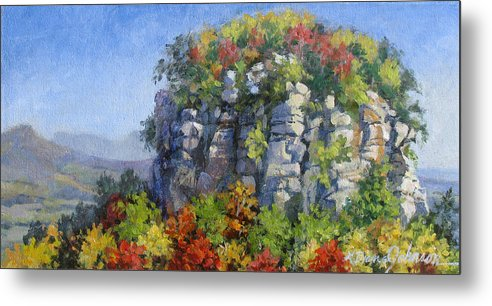 Mountains Metal Print featuring the painting The Pilot - Pilot Mountain by L Diane Johnson