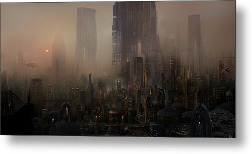 Future City Metal Print featuring the painting Utherworlds Cohabitations by Philip Straub
