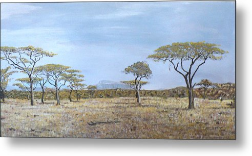 African Veldt Metal Print featuring the painting Veldt by Dan Bozich