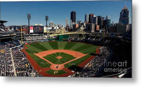 Panoramic Metal Print featuring the photograph Houston Astros V Pittsburgh Pirates by Joe Robbins
