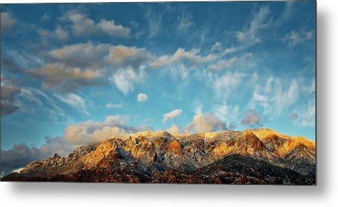Southwest Metal Print featuring the photograph Sandia Gold, Sandia Mountain, Albuquerque, NM by Zayne Diamond Photographic