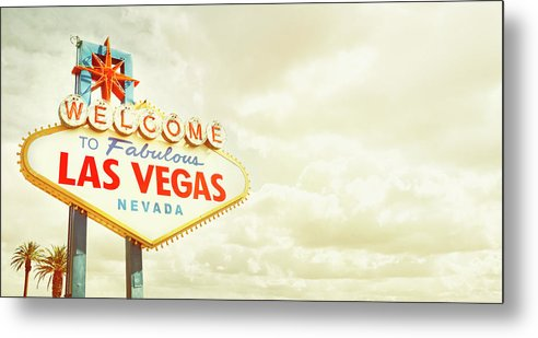 Panoramic Metal Print featuring the photograph Vintage Welcome To Fabulous Las Vegas by Powerofforever