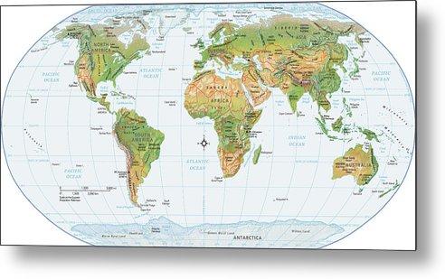Equator Metal Print featuring the digital art World Map, Physical by Globe Turner, Llc