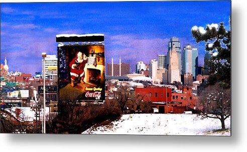 City Metal Print featuring the photograph Kansas City Skyline at Christmas by Steve Karol