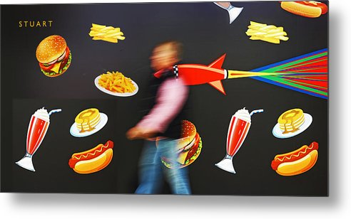 Rocket Metal Print featuring the painting Rocket Lunch by Charles Stuart