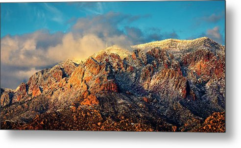 Albuquerque Metal Print featuring the photograph Unveiling Sandia Mountain and Crest by Zayne Diamond Photographic