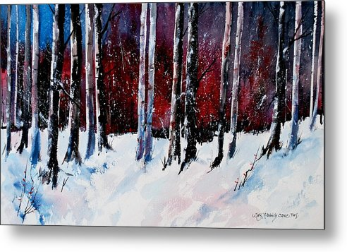 Winter Snow Forest Birch Trees Metal Print featuring the painting Ladies of the Forest by Wilfred McOstrich