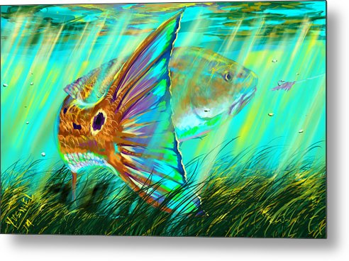 Fishing Metal Print featuring the digital art Over The Grass by Yusniel Santos