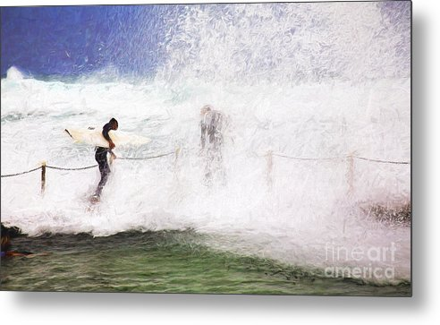 Surf Metal Print featuring the photograph Surfers at rockpool by Sheila Smart Fine Art Photography