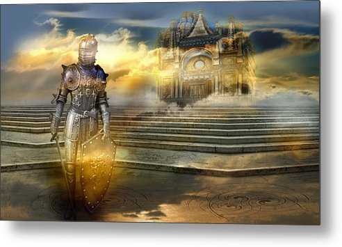 Guardian Knight Palace Court Surrealism Sky Clouds Shield Magic Aerial Castle Fairytales Fantastic Metal Print featuring the photograph The guardian of the celestial palace by Desislava Draganova