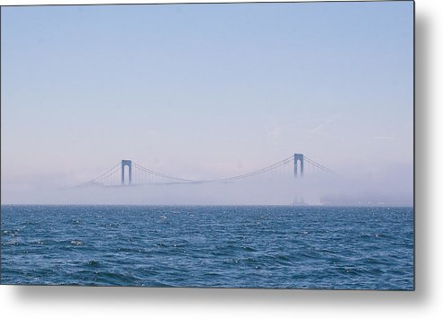 throgs Neck Bridge Nyc Skyline Water Boat Sea Building Mooring Marina City Metal Print featuring the photograph Throgs Neck Bridge by Arthur Sa