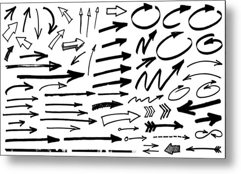 Curve Metal Print featuring the drawing Black Arrows by Enjoynz