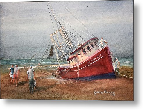 Donna Kay Metal Print featuring the painting The Donna Kay at Cape San Blas by Charles Rowland