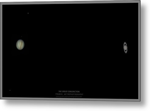Metal Print featuring the photograph The Great Conjunction of Jupiter and Saturn by Prabhu Astrophotography