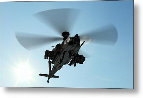 Wind Metal Print featuring the photograph Armed Longbow Apache Helicopter In by Bestgreenscreen