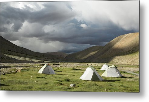 Tranquility Metal Print featuring the photograph Atmospheric Grassy Camping by Jamie Mcguinness - Project Himalaya