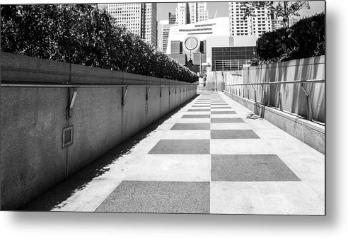 Built Structure Metal Print featuring the photograph Empty Footpath Leading Towards Buildings On Sunny Day by Jesse Coleman / EyeEm