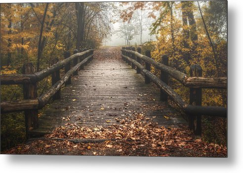 Bridge Metal Print featuring the photograph Foggy Lake Park Footbridge by Scott Norris