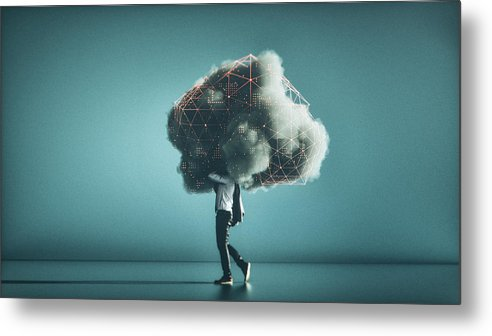 Internet Metal Print featuring the photograph Humorous mobile cloud computing conceptual image by Gremlin