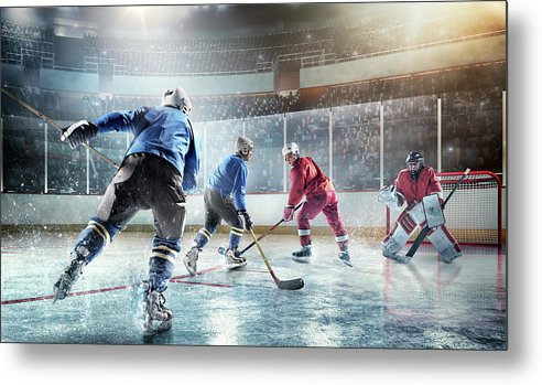 Sports Helmet Metal Print featuring the photograph Ice Hockey Players In Action by Dmytro Aksonov