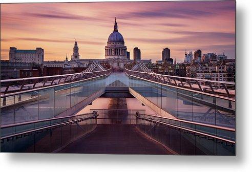 London Millennium Footbridge Metal Print featuring the photograph Millennium Bridge Leading Towards St by Roland Shainidze Photogaphy