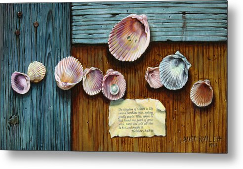 Shells Metal Print featuring the painting Pearl of Great Price by John Lautermilch