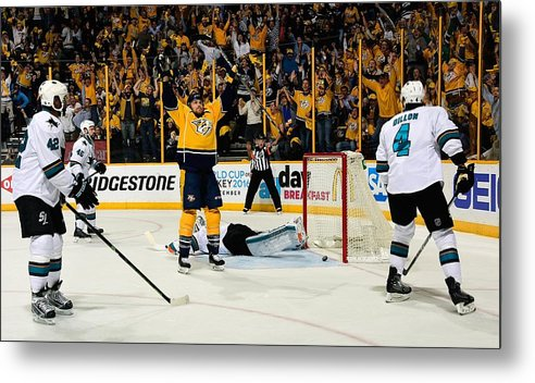 Playoffs Metal Print featuring the photograph San Jose Sharks V Nashville Predators - by Frederick Breedon