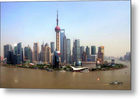 Outdoors Metal Print featuring the photograph Shanghai Skyline by Mariusz Kluzniak