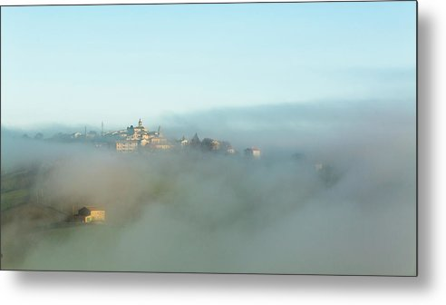 Scenics Metal Print featuring the photograph Small Italian Village In The Fog by Deimagine