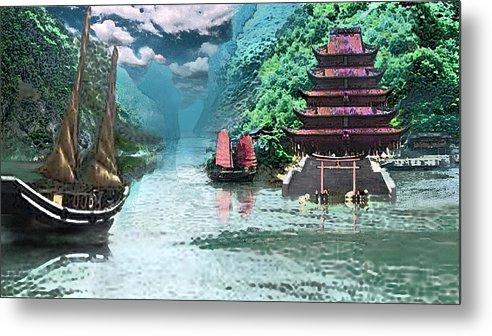 Landscape Metal Print featuring the digital art Temple on the Yangzte by Steve Karol