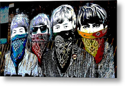 Banksy Metal Print featuring the photograph The Beatles wearing face masks by RicardMN Photography