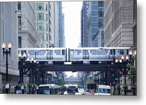 Scenics Metal Print featuring the photograph The Loop And El Train In Chicago by Yinyang