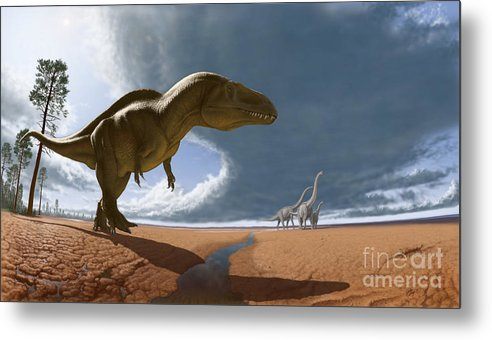 Paleoart Metal Print featuring the digital art Acrocanthosaurus by Julius Csotonyi