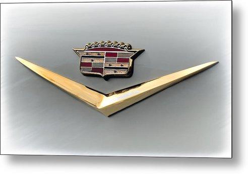 Cadillac Metal Print featuring the digital art Gold Badge Cadillac by Douglas Pittman