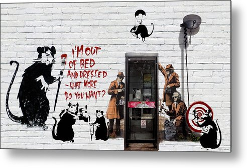 �urban Graffiti� Collection By Serge Averbukh Metal Print featuring the photograph Banksy - The Tribute - Rats by Serge Averbukh