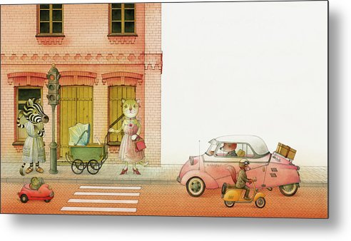Striped Zebra Cat Cars Street Traffic Old Town Red Children Illustration Book Animals Metal Print featuring the drawing A Striped Story02 by Kestutis Kasparavicius