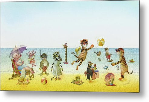 Striped Zebra Beach Sea Animals Tigers Ball Bathing Swimming Vacation Summer Hot Pig Penguin Ice Cream Illustration Children Book Blue Sky Metal Print featuring the painting A Striped Story06 by Kestutis Kasparavicius