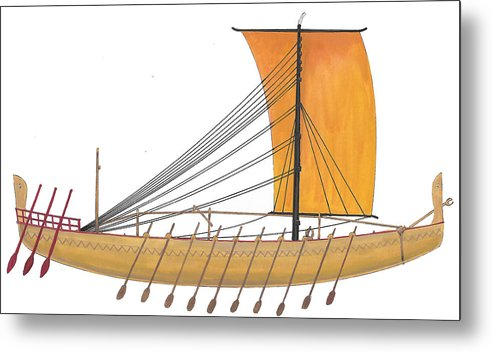 Ancient Metal Print featuring the painting Ancient Empire Trade ship by The Collectioner