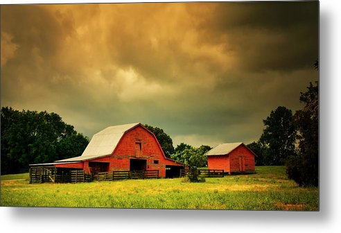 Red Metal Print featuring the photograph Barn in the USA, South Carolina by Zayne Diamond Photographic