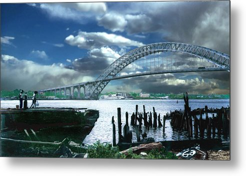 Seascape Metal Print featuring the photograph Bayonne Bridge by Steve Karol