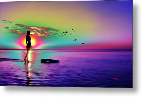 Water Metal Print featuring the digital art Beach Girl 3 by Gregory Murray