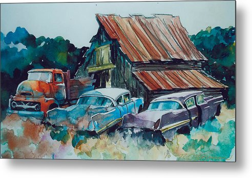 Ford Cabover Metal Print featuring the painting Cluster of Restorables by Ron Morrison