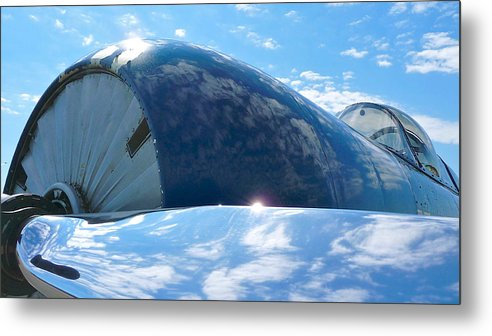 The Front End Of A Vintage Trainer Under Florida Summer Skies Metal Print featuring the photograph Cowling by Scott Waters
