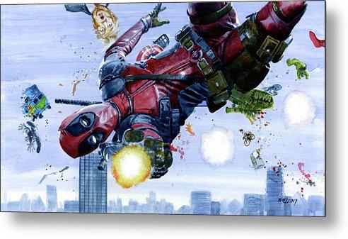 Deadpool Metal Print featuring the painting Deadpool by Ken Meyer jr